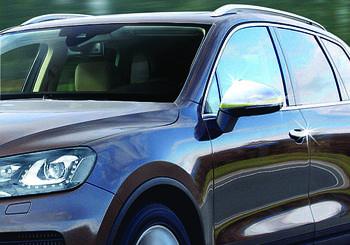 Volkswagen Touareg 2010-2018 гг. Накладки на зеркала (2 шт, нерж.) OmsaLine - Итальянская нержавейка