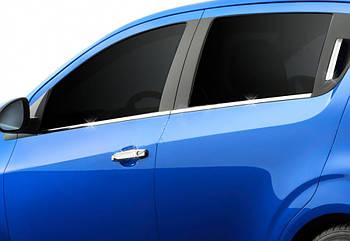 Chevrolet Aveo T300 2011↗ гг. Нижние молдинги стекол (нерж) Hatchback, OmsaLine - Итальянская нержавейка