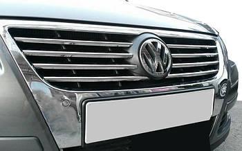 Volkswagen Passat B6 2006-2012 гг. Накладки на решетку (8 шт, нерж) Carmos - Турецкая сталь
