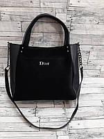 Стильная женская сумка с замшевой вставкой
