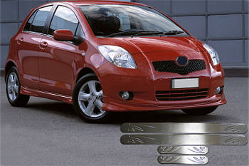 Toyota Yaris 2012↗ гг. Накладки на пороги OmsaLine (4 шт, нерж)