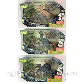 Динозавр RS004-1-2-3 (21шт) 4шт(5-22см), дерево, звук, свет, 2вида, бат-таб, в кор-ке, 33-22,5-13см