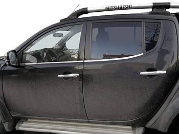 Mitsubishi L200 2006-2015 гг. Окантовка стекол (4 шт, нерж.) OmsaLine - Итальянская нержавейка