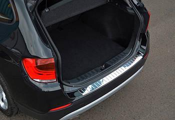BMW X3 F-25 2011-2018 гг. Накладка из стали на задний бампер OmsaLine (нерж.)
