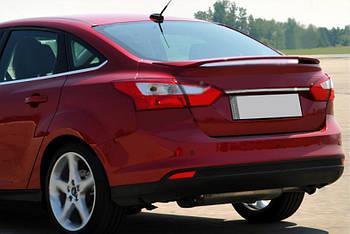 Ford Focus III 2011-2017 гг. Планка над номером узкая (нерж) Седан (хром)