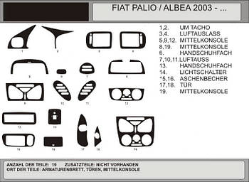 Fiat Albea 2002↗ гг. Накладки на панель (Hartman) Светлый шпон
