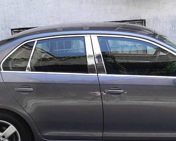 Volkswagen Jetta 2006-2011 гг. Молдинг дверных стоек (6 шт, нерж)