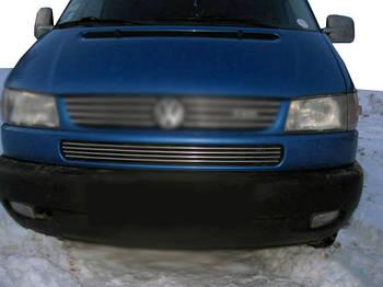 Volkswagen T4 Caravelle/Multivan Накладки на решетку в бампер Косой капот (4 шт, нерж)