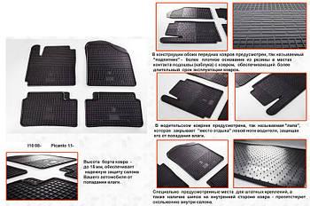 Hyundai I-10 2008-2013 гг. Резиновые коврики (4 шт, Stingray Premium)
