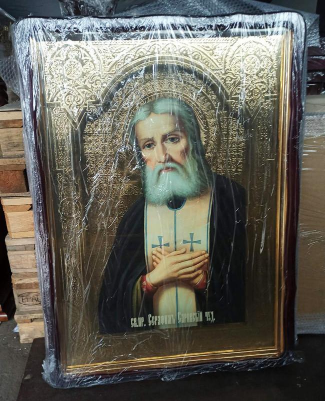 Большая православная икона Серафима Саровского для храма 110х80см