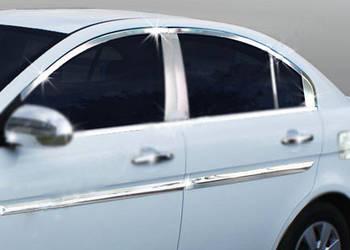 Hyundai Accent 2006-2010 гг. Полная окантовка стекол (12 шт, нерж.)