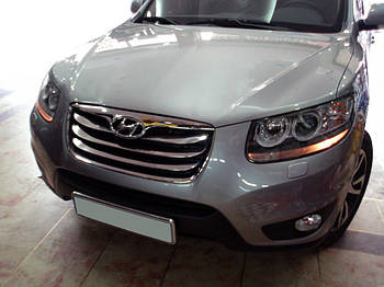 Hyundai Santa Fe 2 2006-2012 гг. Накладка на решетку (2010-2012, 4 шт, нерж.)