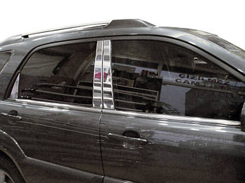 Kia Sportage 2004-2010 гг. Накладки на стойки (6 шт, нерж)