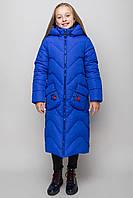 Куртка пальто детская зимняя для девочки теплая на овчине синяя