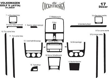 Volkswagen Jetta 2006-2011 гг. Накладки на панель Дерево