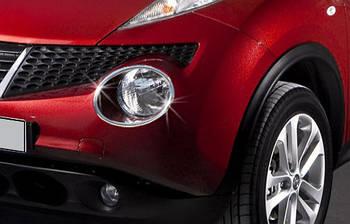 Nissan Juke 2010↗ гг. Накладки на передние фонари (2 шт, нерж) 2010-2014, OmsaLine - Итальянская нержавейка