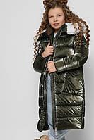 Длинная зимняя куртка для девочки хаки теплая