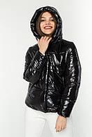 """Куртка пуховик женская короткая черная лаковая """"РИТО 8805"""" АРТ.45132"""