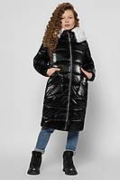 Длинная зимняя куртка для девочки черная теплая