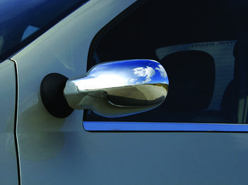 Renault Logan I 2005-2008 гг. Накладки на зеркала (2 шт) Carmos - Хромированный пластик