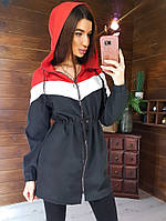 Ветровка женская с капюшоном COLOR BLOCK черно-красная