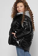 Дутая куртка на экопухе детская для девочки черная