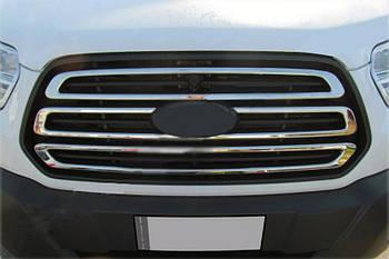 Ford Transit 2014↗ гг. Накладки на решетку (3 шт, нерж) Carmos - Турецкая сталь