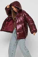 Объемная зимняя куртка женская на эко-пухе марсала