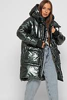 Объемная зимняя куртка женская длинная с капюшоном малахит