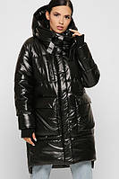 Объемная зимняя куртка женская длинная с капюшоном черная