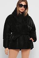 Женская зимняя куртка Velutto с бархатным напылением черная