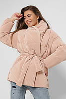 Женская зимняя куртка с бархатным напылением бежевая LS-8881-10