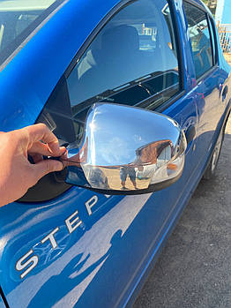 Renault Sandero 2013↗ гг. Накладки на зеркала (2 шт., нерж.)