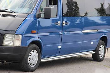 Volkswagen LT 1998↗ гг. Боковые пороги Premium (2 шт., нерж.) Длинная база, d60