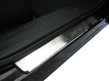 Mazda CX-9 2007-2016 гг. Накладки на пороги Натанико премиум (4 шт, нерж.)