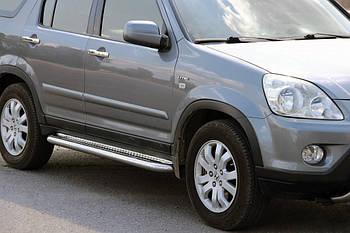 Honda CRV 2001-2006 гг. Боковые пороги Premium (2 шт, нерж) 60 мм