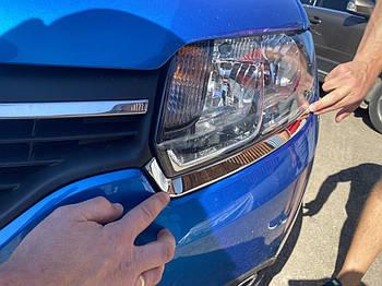 Renault Logan MCV 2013↗ гг. Накладки на фары (2 шт, нерж)