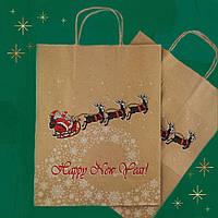 Пакет петля новогодний из крафтовой бумаги