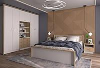 Большой спальный гарнитур со шкафами и комодом СМАРТ ф-ка Феникс из ДСП дуб сонома с белым