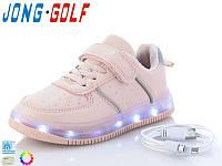 Кроссовки детские с подсветкой подошвы JongGolf 10128 с кабелем Usb размеры 31 34 36