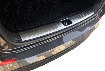 Hyundai Tucson TL 2016↗ гг. Накладка на задний порог багажника (нерж)