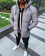 Модная мужская зимняя куртка с капюшоном серая