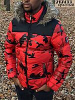 Зимняя мужская куртка милитари с мехом на капюшоне красная
