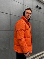 Мужской пуховик стильный с капюшоном оранжевый