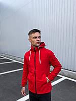 Ветровка мужская красная с капюшоном