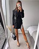 Платье пиджак женское с бахромой чёрное 42-44,46-48, фото 2