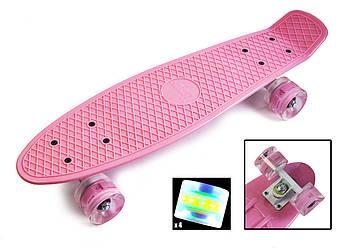 Классический пенниборд для девочек (Penny Board) с подсветкой колес серии Pastel Нежно-розовый цвет
