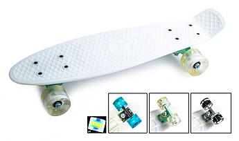 Классический пенниборд (Penny Board) с подсветкой колес Белый цвет