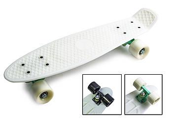 Подростковый пенниборд (Pennyboard) с матовыми колесами Белый цвет