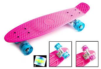 Классический пенниборд (Penny Board) с подсветкой колес Розовый цвет